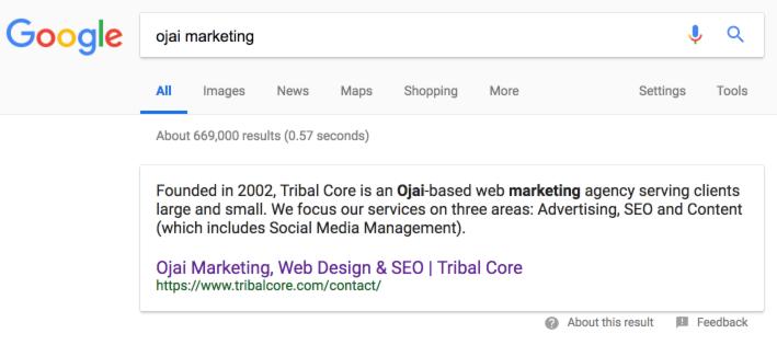 #1 Ojai Marketing in a Google Search